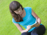 Love letter young girl student — Foto Stock