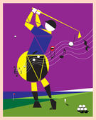 Playing golf like a melody — Stock Vector