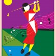 Woman playing golf — Stock Vector #43746319