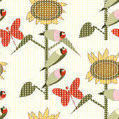 Bird and flower pattern — Stock Vector