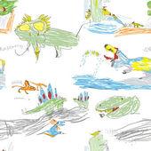 Children's Dino Seamless Pattern — Stock Vector