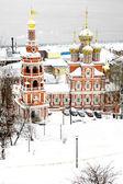 First november snow on Stroganov Church Nizhny Novgorod — Stock Photo