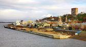 Panoramic view of autumn Nizhny Novgorod on confluence two river — Stock Photo