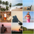 Incredible India Goa  - collage with nine photos - 图库照片