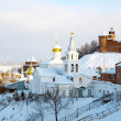 Stock Photo: Junuary view Church of Elijah Prophet and Kremlin