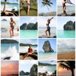 Collage of Happy Young Woman Enjoying on the Beach Thailand - Stock fotografie
