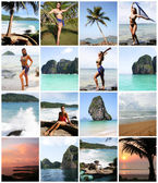 Collage of Happy Young Woman Enjoying on the Beach Thailand — Stock Photo