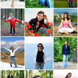 Collage of Happy Young WomEnjoy Travel — Stock Photo #23356084