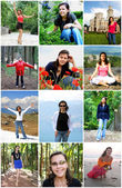 Collage of Happy Young Woman Enjoy Travel — Stock Photo