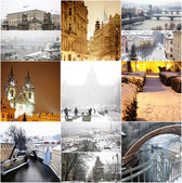 Collage fabulous winter Prague — Stock Photo