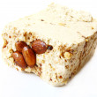 Sesame halva with almonds on white background — Stock Photo