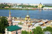 Spring view of Stroganov Church and Cathedral Nevsky Nizhny Novg — Stock Photo