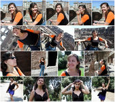 Collage glad ung kvinna i rom italien — Stockfoto