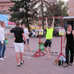 Постер, плакат: Teenagers try to win a prize Bolshaya Pokrovskaya street in Nizhny Novgorod Russia