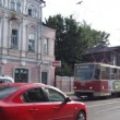 Evening tram in the center going near Business centre Lobachevsky Plaza Nizhny Novgorod Russia — Stock Video