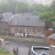 Stock Video: Evening rainfall with thunder at old Gogolystreet in Nizhny Novgorod Russia