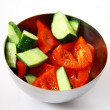Fresh vegetable salad in metal bowl — Stock Photo