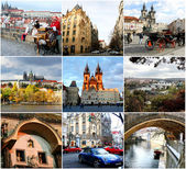 Collage of landmarks Prague Czech Republic — Stock Photo