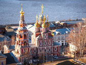 Sunset spring view Stroganov Church Nizhny Novgorod — Stock Photo