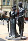 Sculpture aristocratic couple — Stock Photo