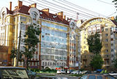 Modern new houses on the street Belinsky — Stock Photo