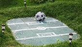 Campo de futebol de decoração de paisagem com bola de flores — Foto Stock