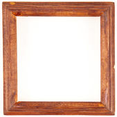 Old wooden frame on a white background — Stock Photo
