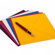 Fountain pen and envelops — Stock Photo