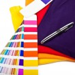 Stock Photo: T shirts, color chart and pen