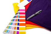 T shirts, color chart and pen — Stock Photo