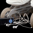 Stock Photo: Roller skates and mp3 player with headphones