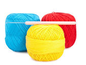Balls of yarn and needle — Stock Photo
