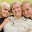 Three women - three generations. Happy and smiling family. — Stock Photo
