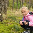 Child in forest. Autumn time. — Stock Photo
