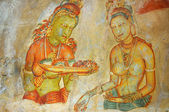 Famous wall paintings on Sigiriya. Sri Lanka — Stock Photo