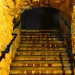 Old stone tunnel. Underground route under Lublin, Poland. — Stock Photo