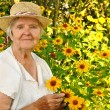 Senior womwith flowers in garden. — Stock Photo #19069703
