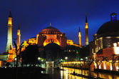 Night view of Hagia Sophia in Istanbul. — Stock Photo
