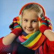 Young girl in winter clothes. - Stock Photo