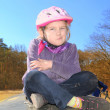 Child in a bicycle helmet. — Stock Photo