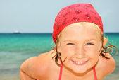 Happy child on the beach. — Stock Photo