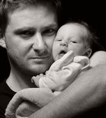 Father and his newborn baby. — Stock Photo