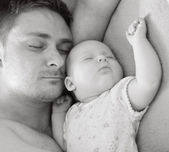 Father sleep with his baby. — Stock Photo