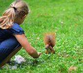 Wiewiórka i dziewczyna — Zdjęcie stockowe