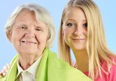 Grandmother and granddaughter — Stock Photo
