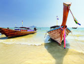 Longtail boat on ropical beach in Krabi, Andaman Sea, Thailand  — Foto de Stock