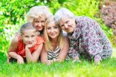 Grandmother and granddaughter. Happy family. — Stock Photo