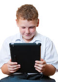 Boy holding a tablet computer — Stock Photo