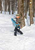 A boy carries the sled in the woods — Stock Photo