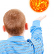The boy tries to reach the sun — Stock Photo